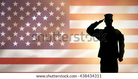 Soldier against digitally generated american national flag - stock photo