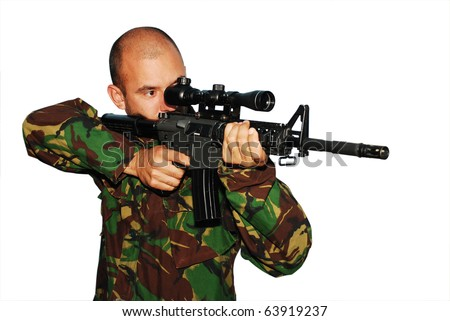 Soldier aiming with sniper rifle isolated on white background - stock photo