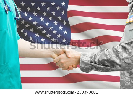 Soldier and doctor shaking hands. Flag on background - United States - stock photo