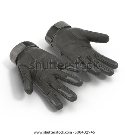 Soldier black gloves isolated on white. 3D illustration