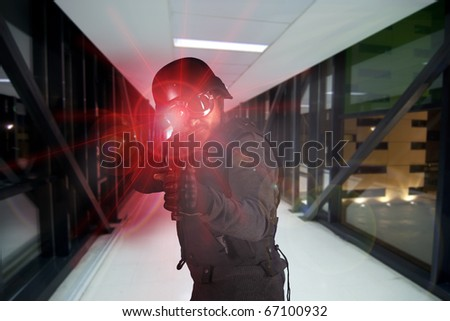 Soldier, defending the company against terrorism - stock photo