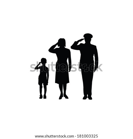 Soldier family salute, isolated, black on white background - stock photo