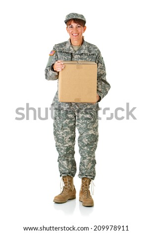 Soldier: Female Soldier Holding Shipping Box - stock photo