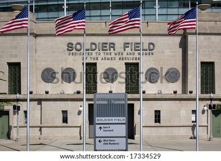 Soldier Field, a municipal stadium in downtown Chicago Illinois. - stock photo