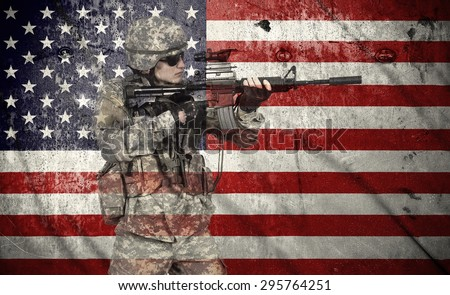 soldier holding rifle on a usa flag background, double exposure - stock photo
