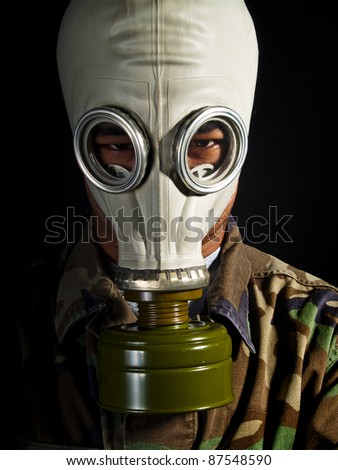 soldier in a nuclear apocalypse - stock photo