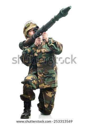 Soldier in camouflage with a weapon
