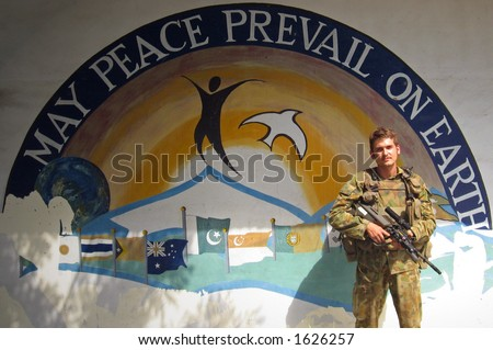 soldier in east timor - stock photo