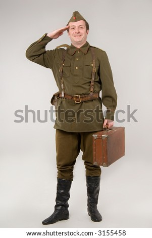 ... in historical soviet military uniform of World War II - stock photo
