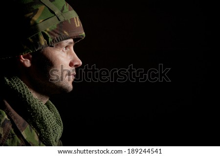 Soldier In Profile - stock photo