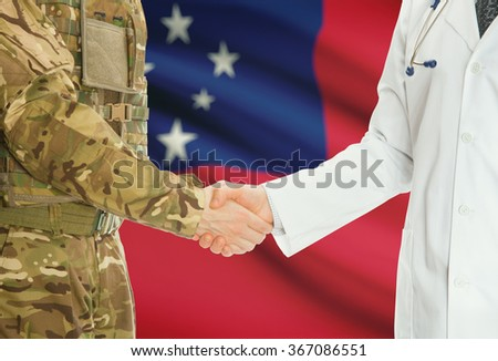Soldier in uniform and doctor shaking hands with national flag on background - Samoa