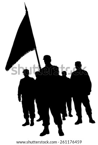 Soldier in uniform with flag on white background - stock photo
