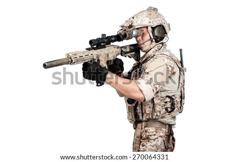 soldier man full armor hold machine gun isolated