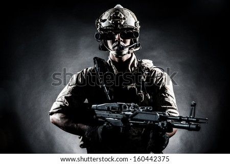 soldier man hold Machine gun fashion  - stock photo