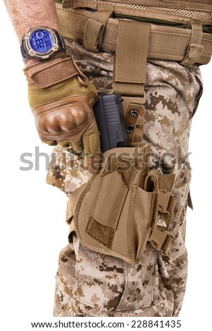 Soldier man in camouflage uniform. - stock photo