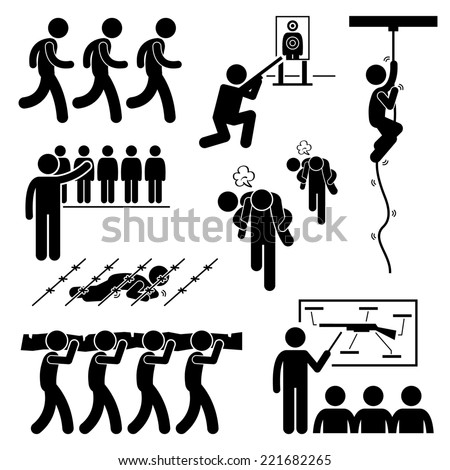 Soldier Military Training Workout National Duty Services Stick Figure Pictogram Icons - stock photo
