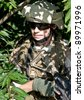 soldier n the jungle - stock photo