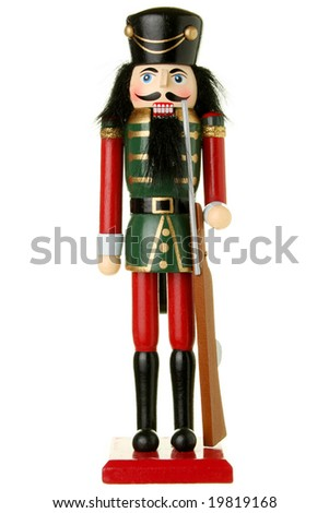 Soldier nutcracker isolated on white - stock photo