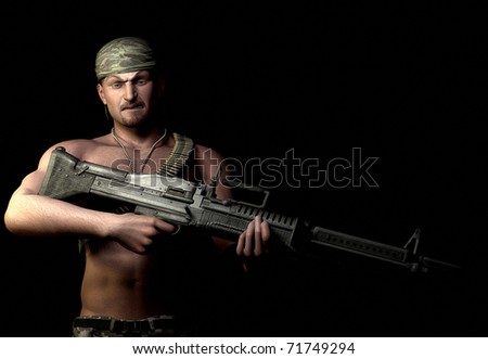 soldier of fortune with a big m60 machine gun. could be from a computer video game