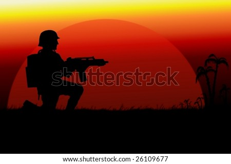 soldier on background of the setting sun