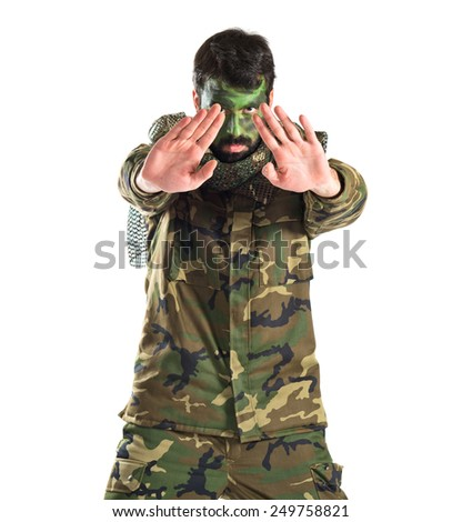 Soldier over white - stock photo
