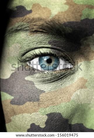 Soldier portrait closeup - stock photo