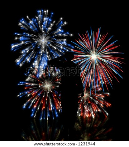 Soldier saluting in front of a red, white, and blue fireworks display. - stock photo