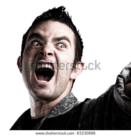 soldier shouting on white background - stock photo