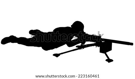 Soldier silhouette with machine gun  made in 3d software