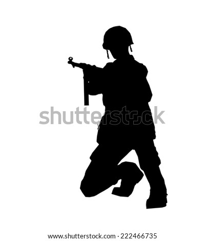 Soldier silhouette with rifleand helmet made in 3d software - stock photo