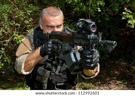 soldier special counterterrorism unit sa.vz.58 with an assault rifle, caliber 7.62 mm - stock photo