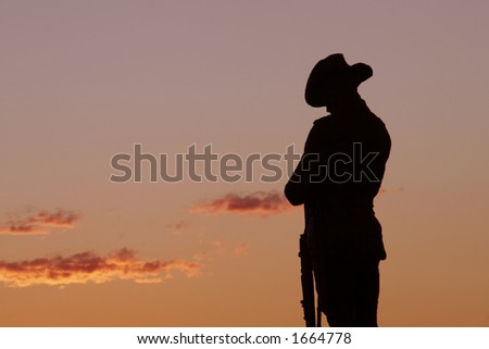 Soldier Statue, Evening Light, Sydney, Australia - stock photo