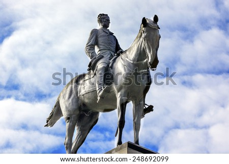 Soldier Statue General William Tecumseh Sherman Equestrian Civil War Memorial Pennsylvania Avenue Washington DC.  Statue dedicated 1903, artist Carl Rohl-Smith. Located in back of Treasury. - stock photo