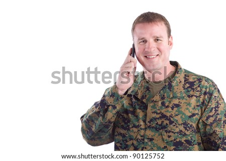 Soldier Talking on a Cell Phone - stock photo