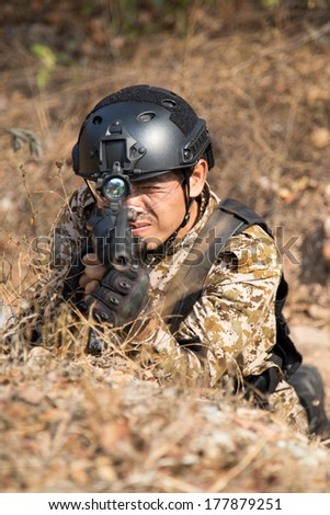 soldier training gun tactic - stock photo