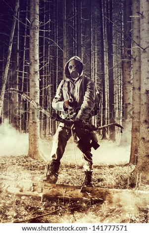 Soldier wearing a gas mask is fighting for its survival