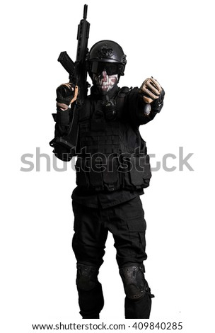 Soldier with a G36K doing negative gesture isolated - stock photo