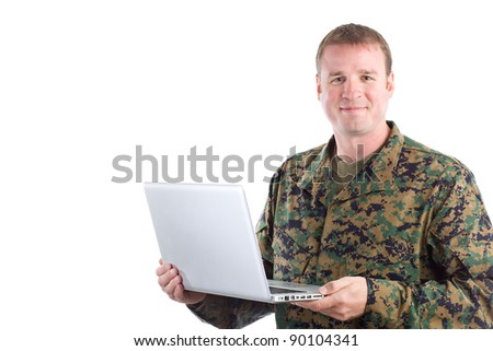 Soldier With A Laptop - stock photo