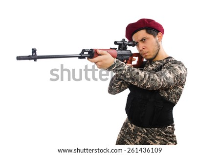 Soldier with a weapon isolated on white