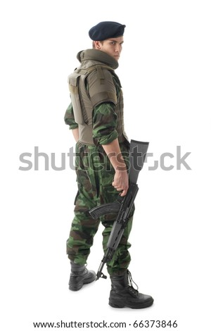 soldier with  assault rifle - stock photo