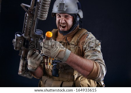 Soldier with grenade launcher
