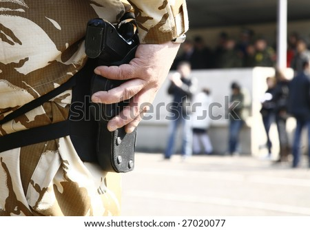 soldier with gun - stock photo