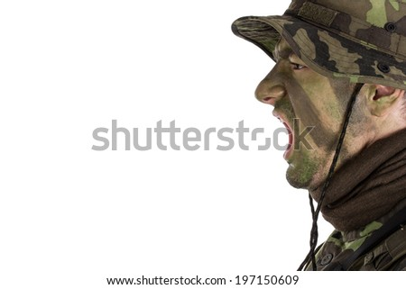 Soldier with jungle camouflage paint shouting out orders. Isolated on white background - stock photo