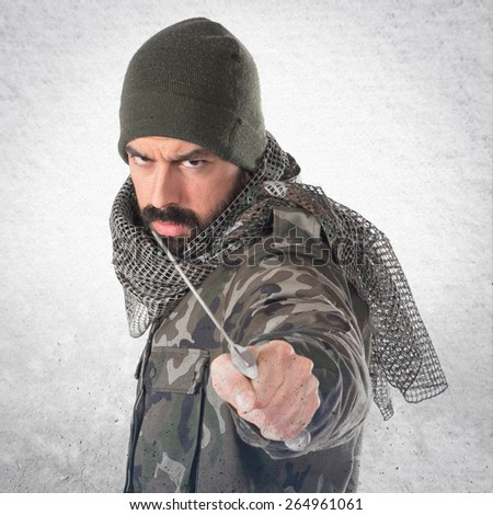 Soldier with knife
