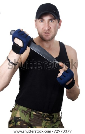 Soldier with knife over white background