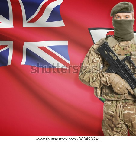 Soldier with machine gun and national flag on background series - Bermuda