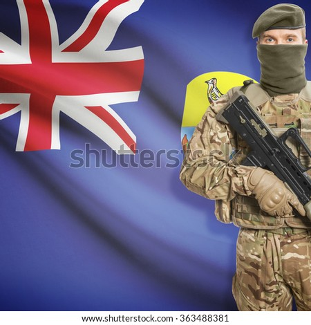 Soldier with machine gun and national flag on background series - Saint Helena