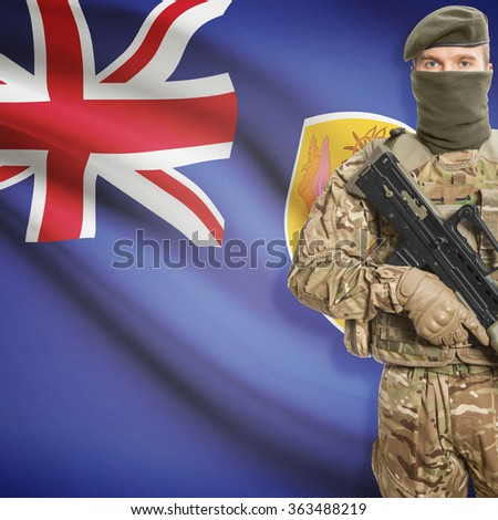 Soldier with machine gun and national flag on background series - Turks and Caicos Islands
