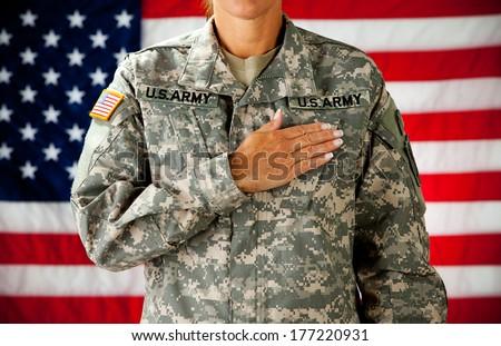 Soldier: Woman Pledging Allegiance - stock photo