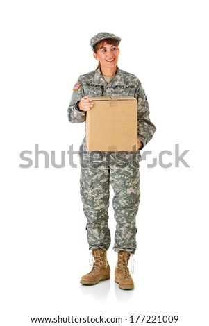 Soldier: Woman Soldier Ready To Ship Box - stock photo